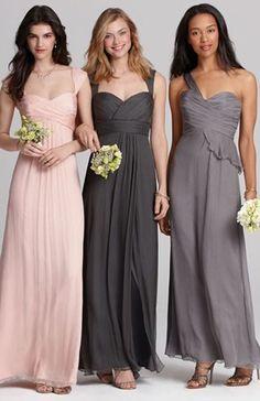 Bridesmaid dresses in shades of pink & grey