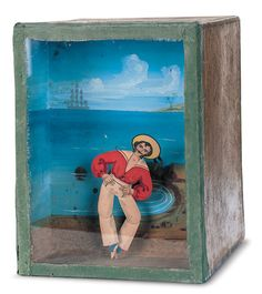 A paper-covered wooden box, with a sand-filled mechanism inside, which portrays a hand-painted seaside scene, with a cut-out and hand-painted figure of a red-shirted sailor. When activated the sailor dances. Antique Toys, Vintage Toys, Vintage Antiques, Victorian Toys, Sand Toys, Kinetic Art, Paper Cover, Toy Boxes, Wooden Boxes