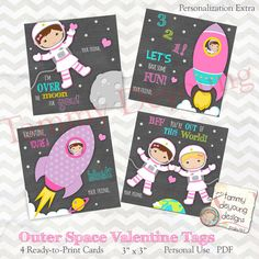 Outer Space Valentine Printable for kids features girl astronauts in rockets with planets, stars and moon! Great for best friends! Perfect for classroom exchanges, school parties, or lunchbox notes! Tie onto treat bags or print on sticker paper.  Just print on card stock and cut with scissors. Sign your name and enjoy sharing! Print as many as you need for personal use ----------------------------------------------- These are not personalized unless selected in drop-down menu. Please write…