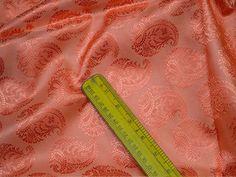 Peach Indian Jacquard Brocade Wedding Dress Fabric By The Yard | Etsy