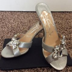 """J.Renee embellished heels J.Renee embellished heels Size 7 Silver with clear stones all in place, silver metallic straps,3 1/2"""" heels, leather, stones and heels in EUC.  These are sooooo eye catching J. Renee' Shoes Heels"""