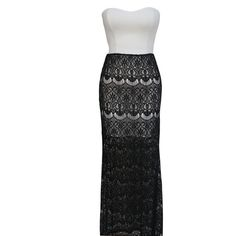 Lace Skirt Rounded Bandeau Maxi Dress LAVELIQ ($59) ❤ liked on Polyvore featuring dresses, sexy white dresses, white maxi dress, summer maxi dresses, summer cocktail dresses and cocktail dresses