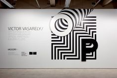 """Our assignment was to create a visual identity for Victor Vasarely's """"Optical… Victor Vasarely, Signage Display, Signage Design, Banner Design, Josef Albers, Environmental Graphic Design, Environmental Graphics, Modern Graphic Design, Graphic Design Posters"""