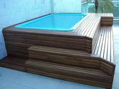 piscina de fibra com deck de madeira - Pesquisa Google