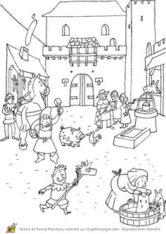 Coloriage moyen age la ville Online Coloring Pages, Colouring Pages, Chateau Moyen Age, Mike The Knight, St Georges Day, Medieval Party, 2nd Grade Art, Greek History, Knight Art