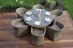 awesome Aston Rattan Garden Furniture 6 Seat Rounded Dining Set Beige Cushions Buy this and much more home & living products at http://www.woonio.co.uk/p/aston-rattan-garden-furniture-6-seat-rounded-dining-set-beige-cushions/