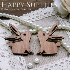 2Pcs Handmade Lovely  Rabbit Charms / Pendants (LC023). $3.80, via Etsy.