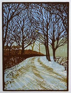 linocut snow scene – nancy power prints