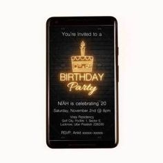 Neon Light Birthday invite  Any Design Wishes, Contact us.