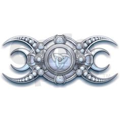 Wiccan triple goddess symbol ornately decorated in silver and moonstone crescent moon accents with a center pentacle.