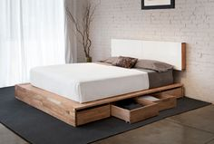 Platform Bed & Storage Headboard