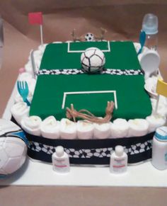 Diaper cake (soccer field) by handcraftedgiftsgal on Etsy