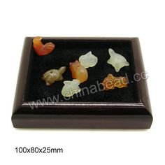 Wooden display tray, Dark brown and black color, Rectangle, Approx 100x80x25mm, 10 pieces per bag, Sold by bags