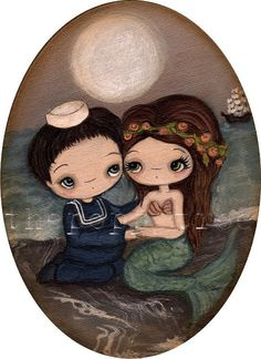 Mermaid PrintThe Sailor And The Mermaid by thepoppytree on Etsy, $16.00