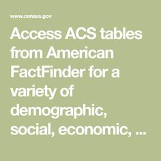 Access ACS tables from American FactFinder for a variety of demographic, social, economic, and housing subjects. Census Data, Tables, American, Mesas, Table