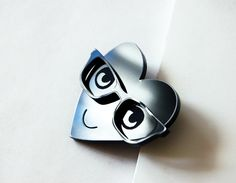 Mister French Heart Pin : Laser Cut from Shiny Black Acrylic. Measures 45 x 50 mm.