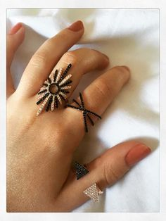 Alectrona Black and White Ring Rose Gold Black And White Rings, White Stone, Rose Gold Plates, Light In The Dark, Sterling Silver Rings, Greek, Stones, Sun, Future