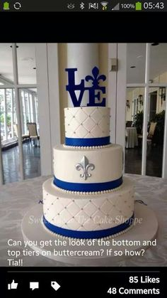 Fleur De Lis - white and navy quilted wedding cake