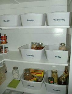 Buy 7 tubs & plan out meals for the week.  Placing ingredients for each day in their tub.   Cool idea.