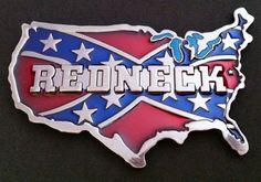 REDNECK USA MAP COUNTRY FLAG SOUTH REBEL BELT BUCKLE