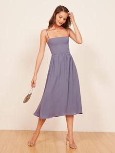 Rosehip blue square neck midi dress Reformation