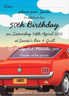 Classic Vintage Retro Car Mens Birthday Party Invitations 50th