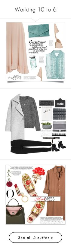 """""""Working 10 to 6"""" by thrifychic ❤ liked on Polyvore featuring Chloé, Miu Miu, Urban Expressions, 8, Magdalena, By Terry, ruffles, MANGO, Christy and Campania International"""