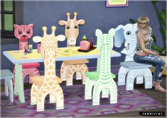 Safari for Kids functional chairs & dining table at Jenni Sims via Sims 4 Updates
