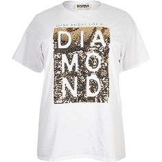 RI Plus white sequin print boyfriend T-shirt - print t-shirts / vests - t shirts / vests - tops - women