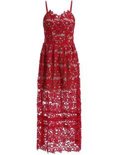Red Spaghetti Strap Floral Crochet Hollow DressSarah Styles Seattle