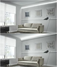 kaltweißes Licht an der Wand erzeugt schöne Effekte