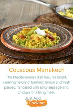 Couscous is a staple of North Africa and can be found in many cuisines throughout the Mediterranean. Our Couscous Marrakech uses turmeric to add a bright flavor and beautiful golden color. Tossed with chicken and spicy sausage, this filling dish is a great introduction to Moroccan cuisine!