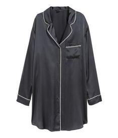 Nattskjorte i silke | Marine | DAME | H&M NO