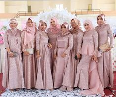 Muslim Wedding Dresses, Satin Bridesmaid Dresses, Bridesmaid Outfit, Bridesmaids, Dress Wedding, Dress Brokat, Kebaya Dress, Kebaya Brokat, Hijab Dress Party