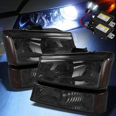 For 6000K Slim Xenon HID+Smk 03-06 Chevy Silverado Headlights Corner Bumper