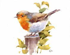 Pájaro de Tit acuarela pintura Original 7 4/5 x 7 4/5