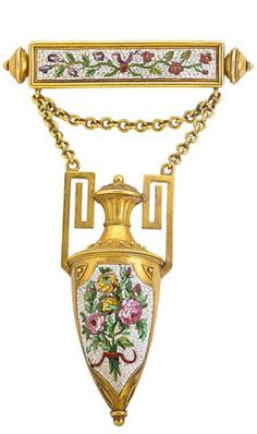 """ARCHAEOLOGICAL REVIVAL MICROMOSAIC 18K BROOCH Rectangular panel with knopped terminals and suspended amphora with fine floral Roman mosaic and wirework, bloomed 18k gold, ca. 1870. Unmarked. 3 7/8"""" x 1 3/8"""""""