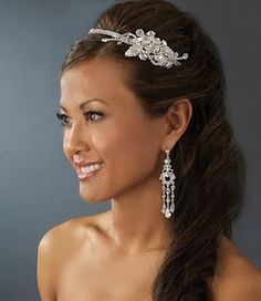 One side up Wedding hairstyle with side detail headband