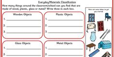 Four differentiated activities to classify everyday materials.