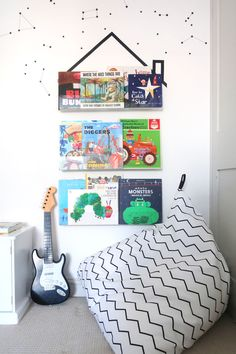 The Twinkle Diaries twin bedroom makeover — monochrome kids bedroom decor Boys Bedroom Decor, Bedroom Ideas, Cloud Shelves, Pine Wardrobe, Great Little Trading, Old Room, Room To Grow, Cot Bedding, Nursery Prints