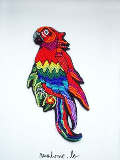 """Parrot jewelry - brooch """"Scarlet Macaw"""" - MADE TO ORDER. $108.00, via Etsy."""