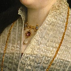 Unfortunately I couldn't find the rest of the painting. Mode Renaissance, Renaissance Jewelry, Renaissance Fashion, Classic Paintings, Old Paintings, Detailed Paintings, Lace Painting, Renaissance Paintings, Victorian Art