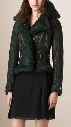Dark cedar green Shearling Biker Jacket - Image 2
