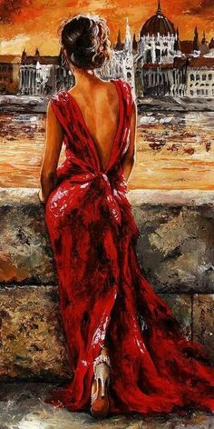 """"""" Lady in Red 34 - I Love Budapest"""". Emerico Toth"""