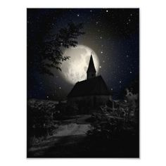 A #dark and #gothic #church (castle) in the #moon light #photo art.