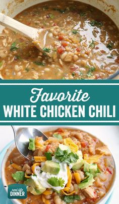We love this White Chicken Chili, and know it will be your favorite too. So easy and flavorful! Family friendly and perfect for weeknight dinners. ~ http://reallifedinner.com