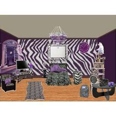 zebra room. Love this. Going to do plum and zebra for Courts room!
