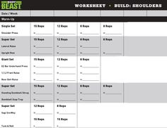 Body Beast Workout Tracker Sheet  Body Beast    Body