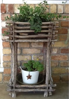 Country gardens. I love twig planters. This one is my favorite.