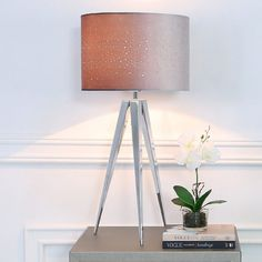 Hollywood Chrome Tripod Table Lamp With Grey Velvet Sparkle Shade Clear Glass Table Lamp, Mirror Candle Plate, Small Candle Holders, C Table, Tripod Table Lamp, Floor Lamp, Chrome, Shades, Sparkle